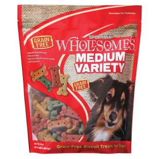 SPORTMiX Wholesomes Grain Free Medium Variety Biscuit Dog Treat 4lb